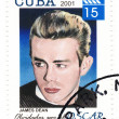 Vintage stamp with actor James Dean - Stock Photo