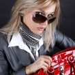 Fashion young woman with red bag — Stock Photo #2646792