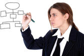 Businesswoman drawing plan — Stock Photo