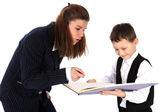 Öğretmen ve çocuk kitapla — Stok fotoğraf