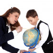 Stock Photo: Teacher and boy with globe