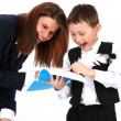 Stock Photo: Funny teacher and boy