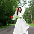 Stock Photo: Bride with red flying flower at road