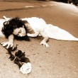 Bride with flower at road — Foto de Stock