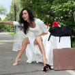 Stock Photo: Beautiful bride hitch-hike