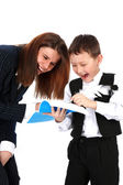 Funny teacher and boy — Stock Photo