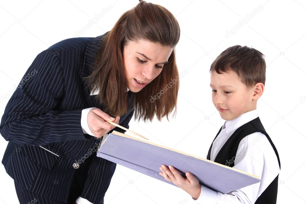 Teacher and boy with book isolated on white — Stock Photo #2675648