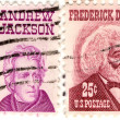 Постер, плакат: Two USA stamps with Andrew Jackson and Frederick Douglass