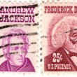 Two USA stamps with Andrew Jackson and Frederick Douglass - Stock Photo