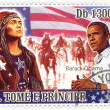 Stock Photo: Stamp with 45th president of USA - Barack Obama
