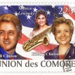 Union de Comores stamp with Bill Clinton, Hillary Clinton and Monica Lewinsky — Stock Photo
