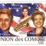 Union de Comores stamp with Bill Clinton, Hillary Clinton and Monica Lewinsky — Stock Photo