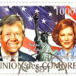 Union de Comores 2009. Stamp with Jimmy and rosalyne Carters — Stock Photo