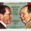 A stamp shows image of US President Nixon meeting Mao Zedong during his visit to China, circa 1972 — Stock Photo