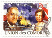 Union de Comores stamp with Franklin and Eleanor Roosevelts, 2008 — Stock Photo