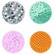 Vector disco ball set — Stock Vector