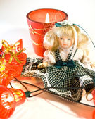 Doll and New Year — Stock Photo