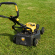 Foto Stock: Lawnmower on a lawn.