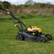 Stockfoto: Petrol lawn mower.