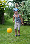 The boy with a ball. — Stock Photo