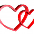 Two hearts on a white background — Stock Photo