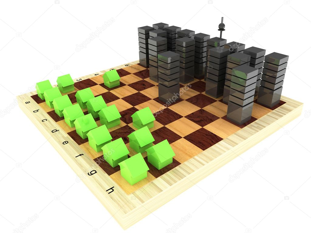 Office buildings or are rented apartments against private houses on a chessboard — Stock Photo #1341954