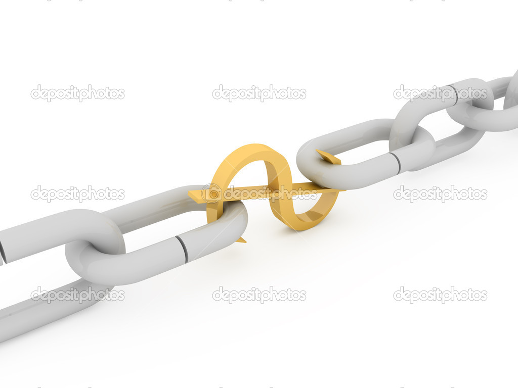 Gold sign of dollar connecting two links of chain  Stock Photo #1805029