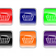 Stock Vector: Button shopping basket