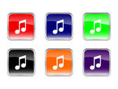 Buttons music on a white background. Vector illustration. — Stock Vector