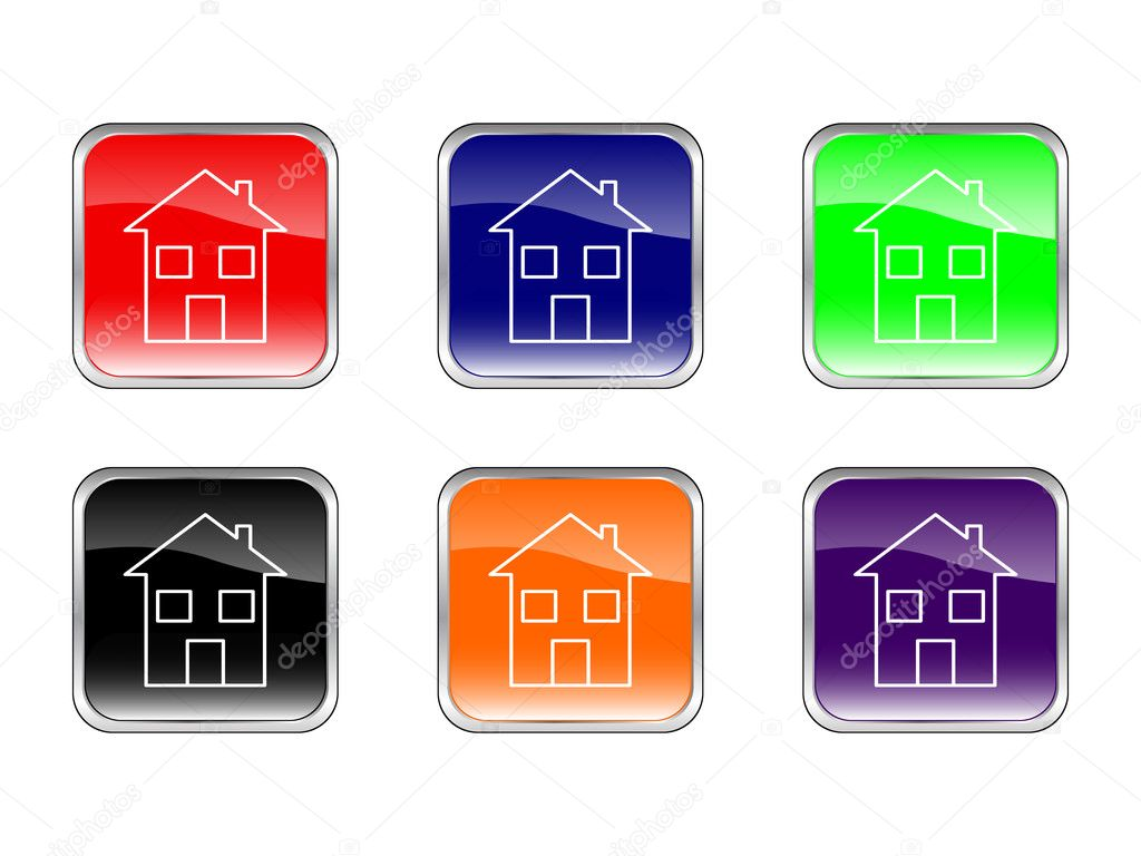 Buttons house on a white background. Vector illustration. — Stock Vector #1842870