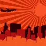 City, aeroplane and sun — Stock Vector