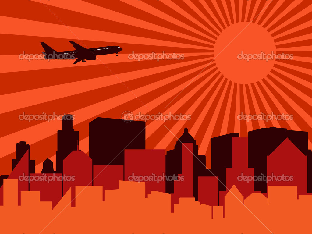 City, aeroplane and sun. Vector illustration. — Stock Vector #1859784