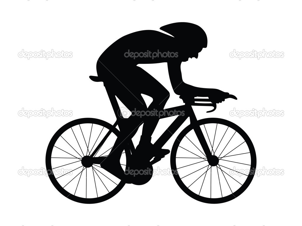 Cyclist silhouette isolated on a white background. Vector illustration. — Stock Vector #1859857