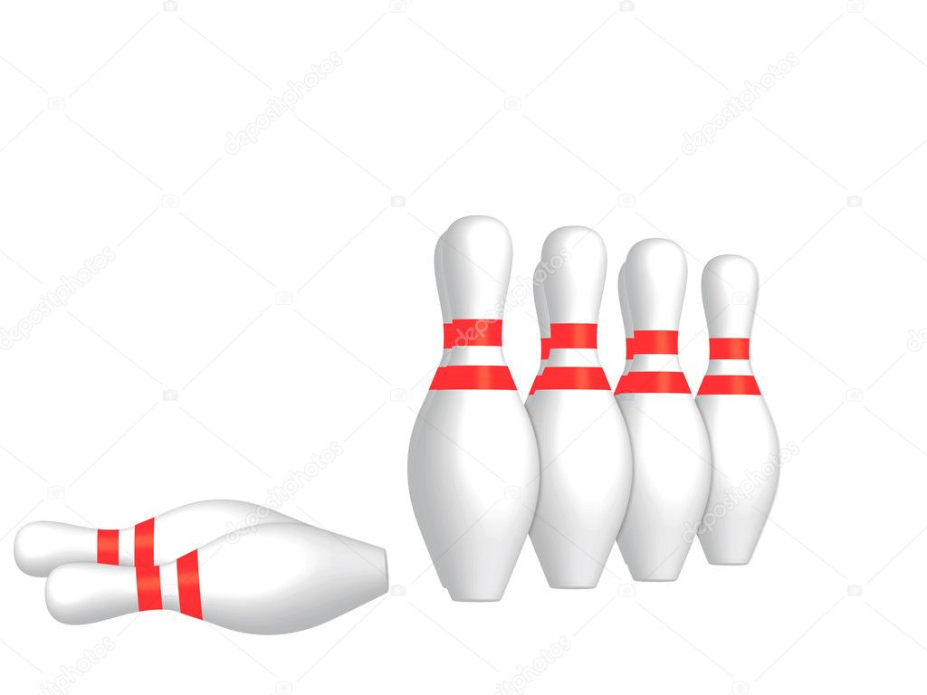 Bowling pins isolated on a white background. — Stock Photo #1923863