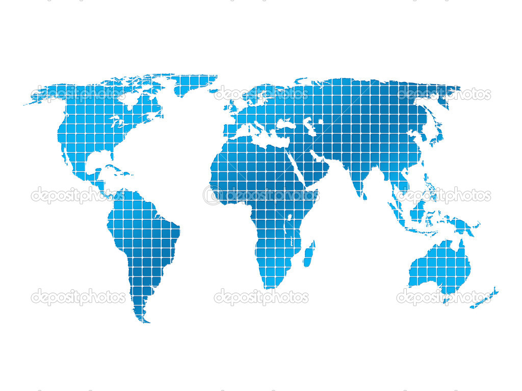 Isolated square world map on a white background. — Stock Photo #1923957