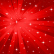 Vector red background stars and rays — Stock Vector