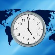 World map and clock — Stock Photo