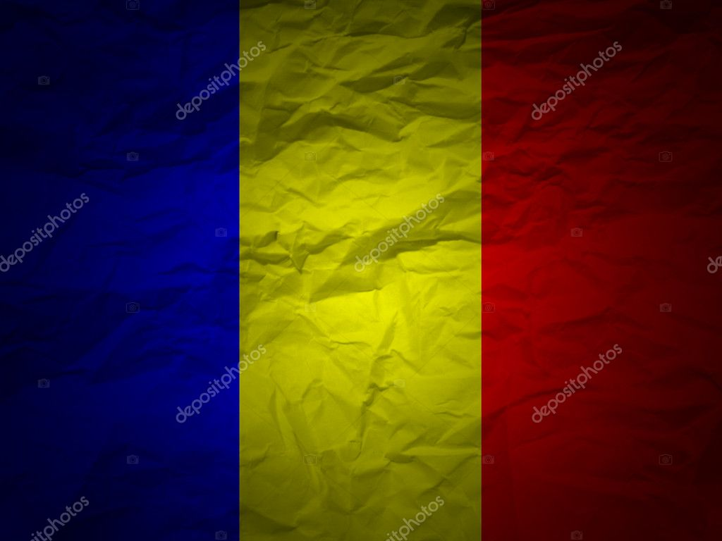 Romania flag on a grunge paper background. — Stock Photo #2028216