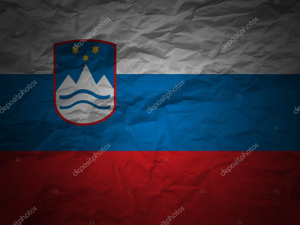 Slovenia flag on a grunge paper background.  Stock Photo #2028284