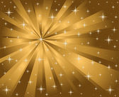Vector gold background stars and rays — Stock Vector