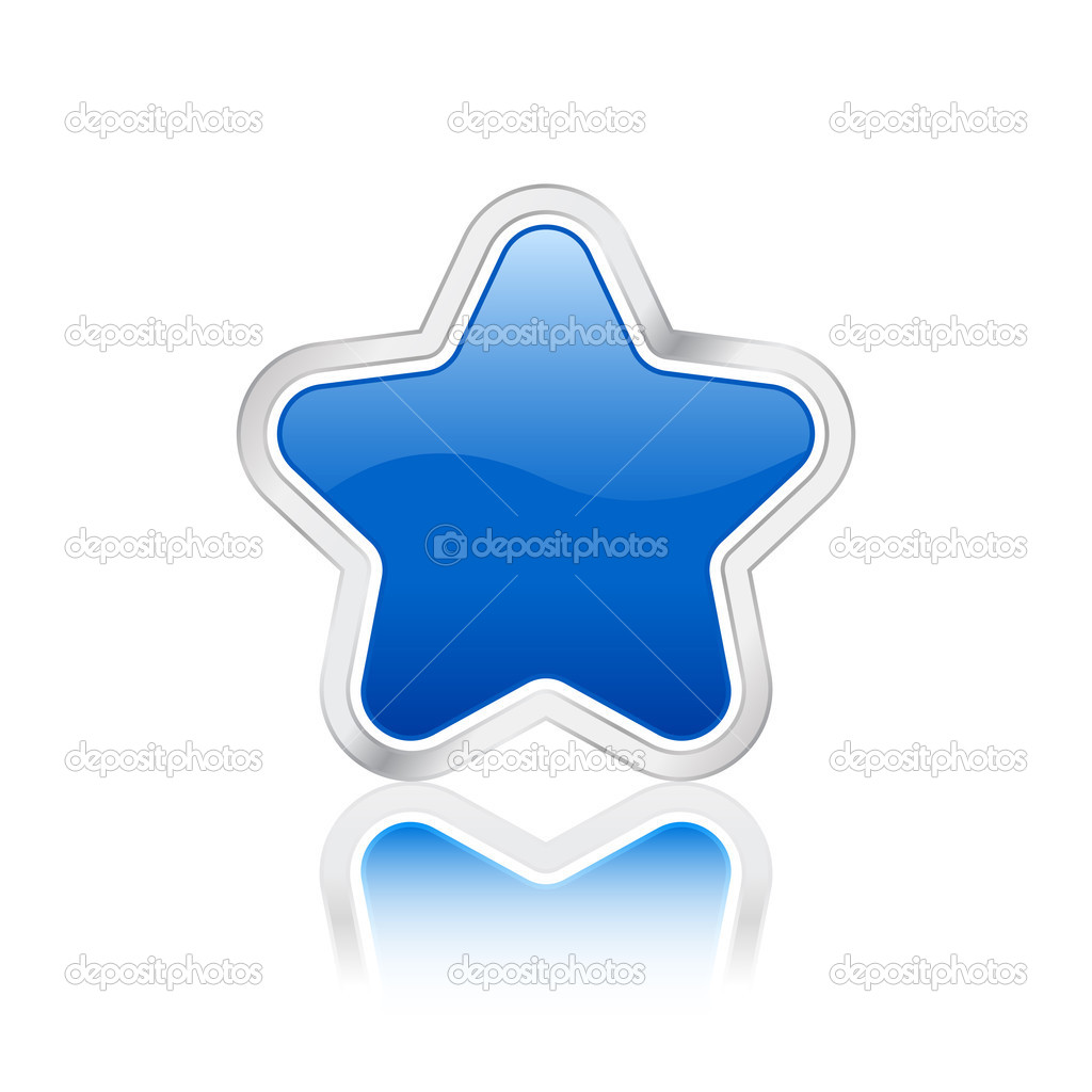 Blue star icon with metal contour, isolated on a white background. Vector illustration. — Stock Vector #2022692