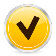 Stock vektor: Check symbol yellow circle icon