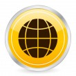 Globe symbol yellow circle icon — Imagen vectorial