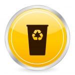 Recycle bin yellow circle icon — Stock Vector