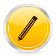Pencil yellow circle icon - Stock Vector