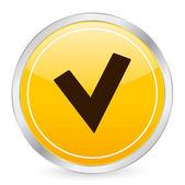 Check symbol yellow circle icon — Stock Vector