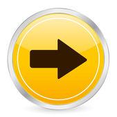 Arrow right yellow circle icon — Stock Vector