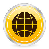 Globe symbol yellow circle icon — Stock Vector