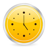 Clock yellow circle icon — Vecteur