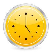 黄色い円の時計アイコン — ストックベクタ